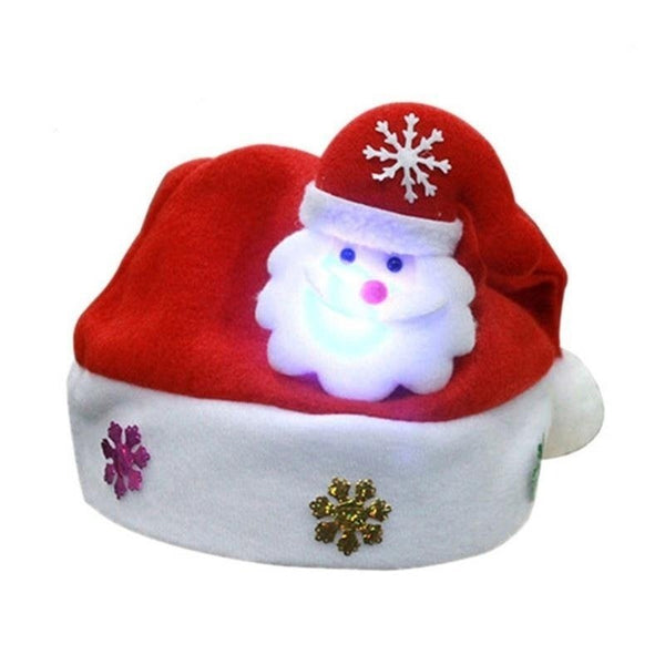 3 Styles LED Christmas Hat Cartoon Reindeer/Santa Claus/Snowman Xmas Cap for Adults & Kids