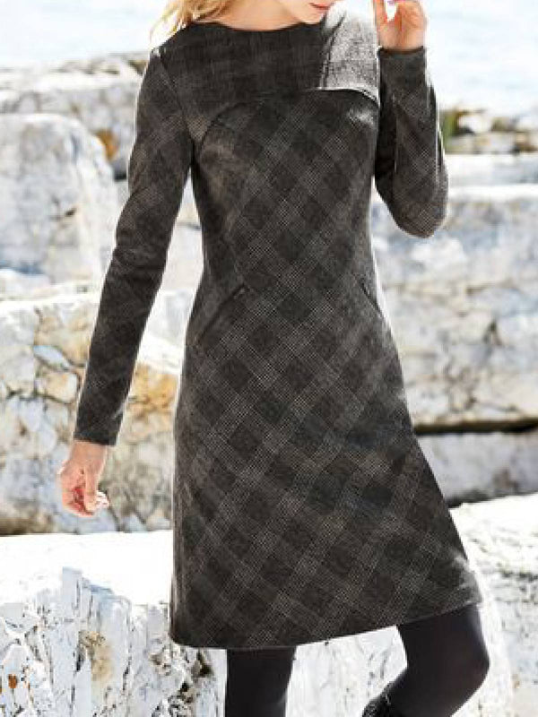 Gray Cotton-Blend Long Sleeve Dresses
