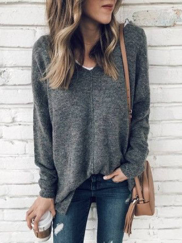 Gray Casual V Neck Cotton-Blend Sweater