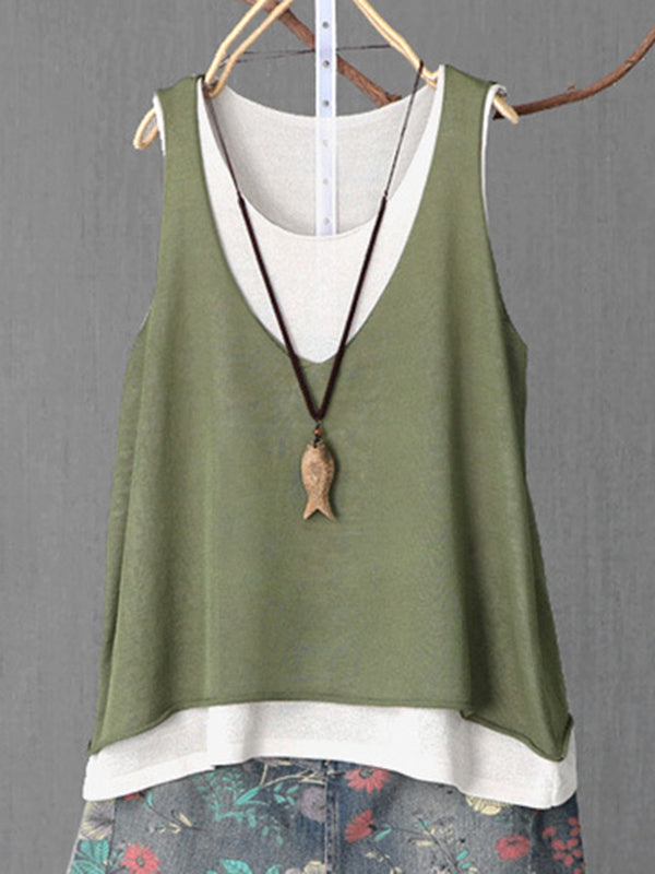 Womens Clothing Tiered Casual Sleeveless Tanks