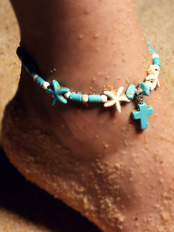 Fashion Anklet Double Starfish Beach Turquoise Cross Pendant Vintage Anklet