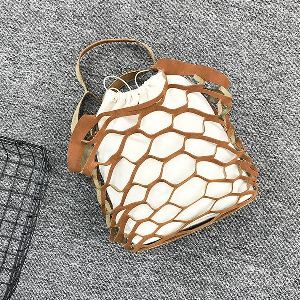 Women Fishing Net Hollow Shoulder Bag