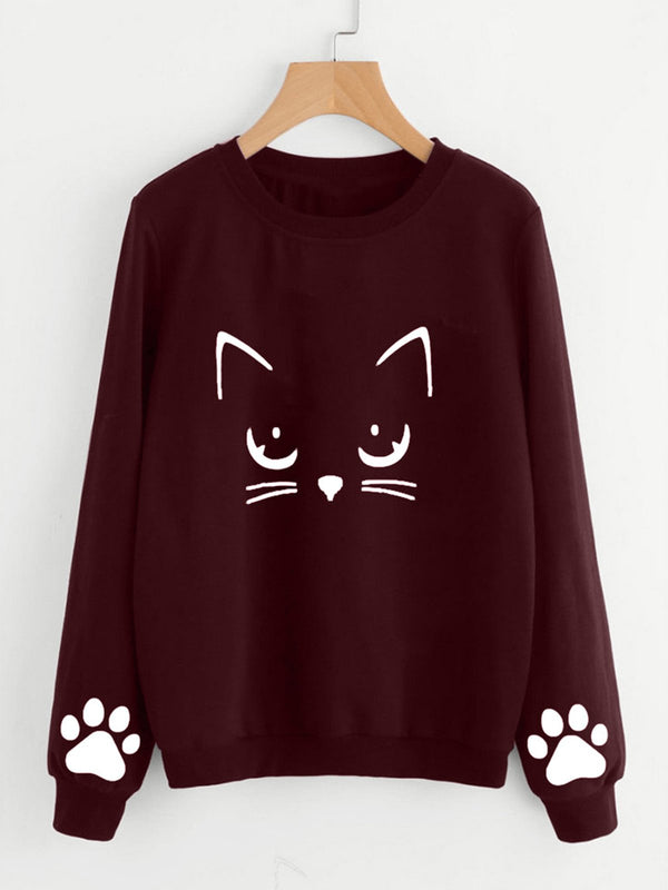 Long Sleeve Crew Neck Printed Sweet Sweatshirts