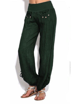 Women Plus Size Casual Daily Fall Cotton Solid Pants