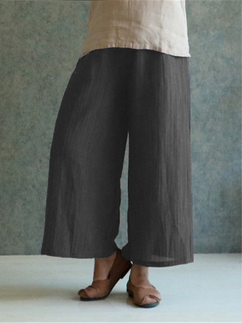 Women Casual Plus Size Solid Cotton Vintage Plain Pants