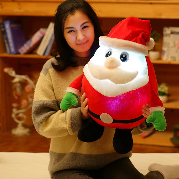 Cartoon Reaction Lighting Singing Music Santa Claus Pillow Plush Doll Kids Toy Gifts
