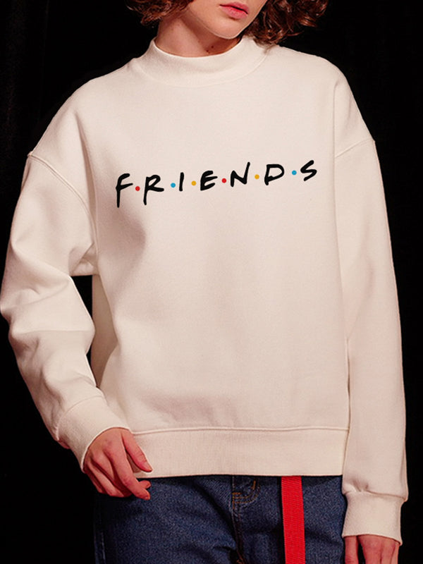 Cotton Letter Paneled Printed/Dyed Crew Neck Sweatshirt