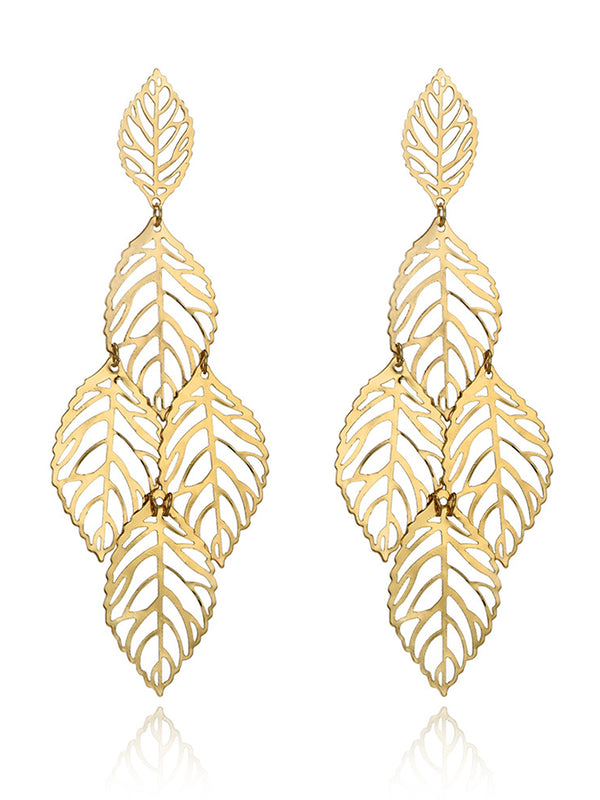 Fashion Hollow Size Leaf Metal Earrings Casual Multi-layer Leaf Alloy Earrings