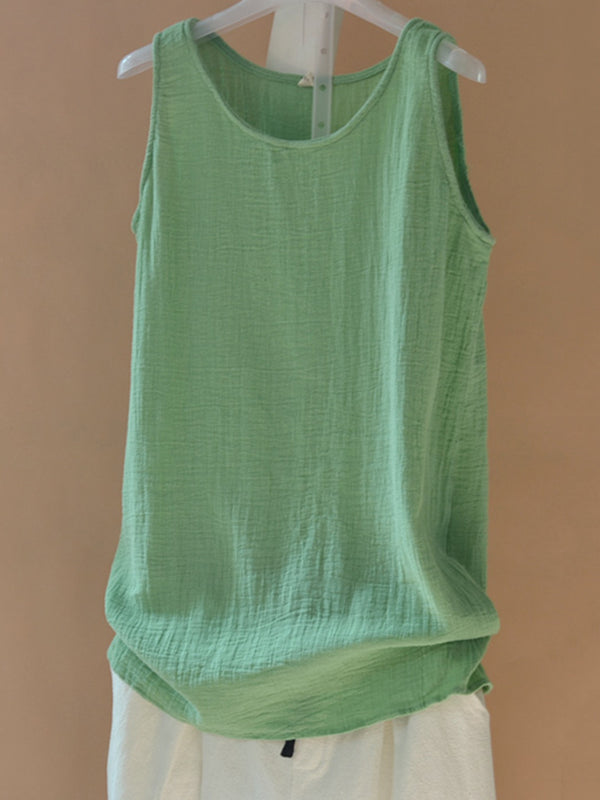 Shift Sleeveless Linen Crew Neck Simple Solid Tank Top