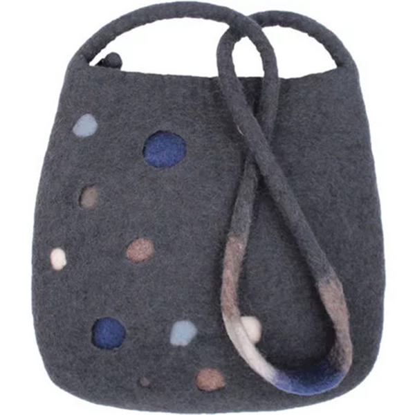 Deep Gray Wool Statement Women's Bags