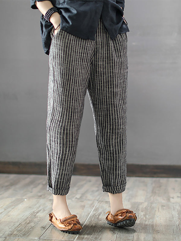 Women Casual Lightweight Striped Pants