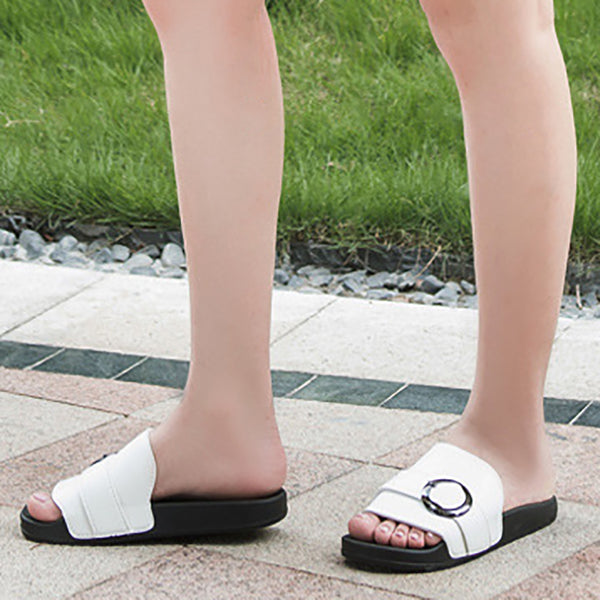 Women Casual Flat Heel Button Sandals