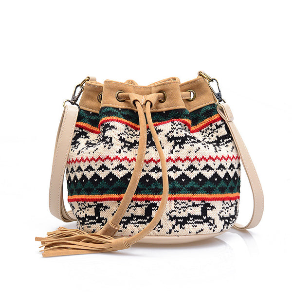 Christmas Moose Bucket Small Satchel Crossbody Bags