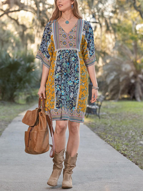 V Neck Floral Casual Cotton-Blend Boho Dresses
