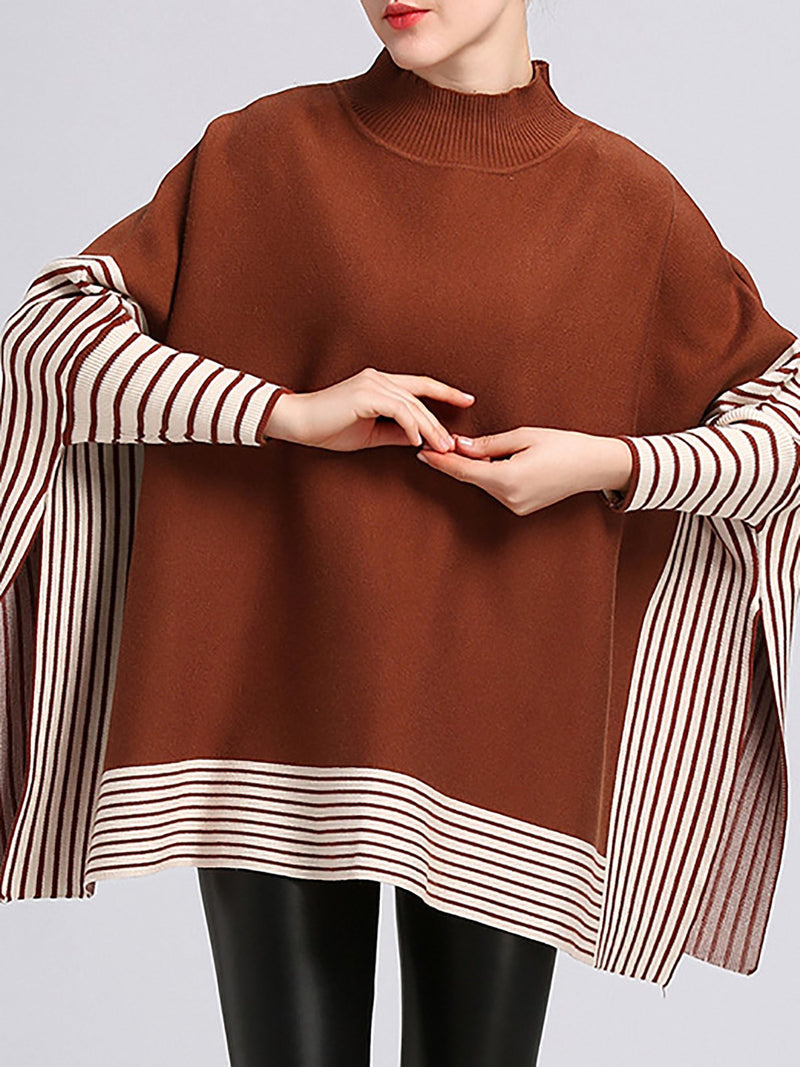 Turtleneck Solid Batwing Knitted Casual  Sweaters