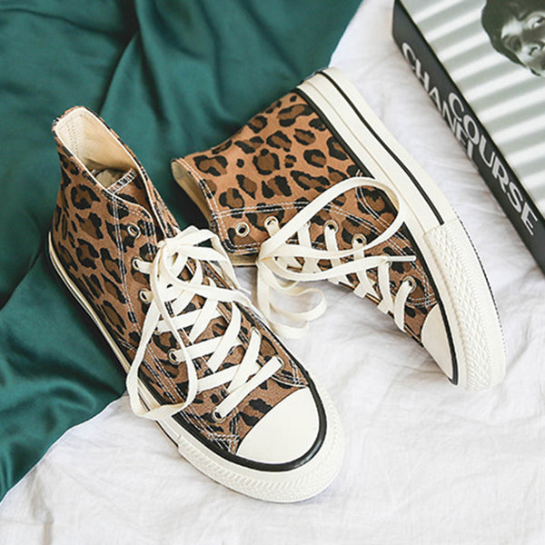 Lace-up Sneakers Leopard Pattern Canvas Boots