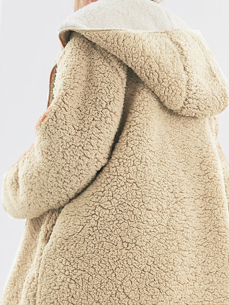 Casual Long Sleeve Solid Fluffy Coat