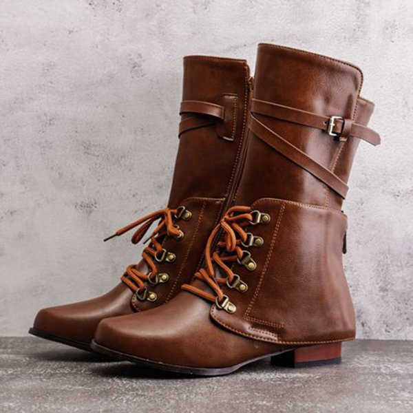 Vintage Women Lace-up Boots Adjustable Buckle Artificial Leather Booties