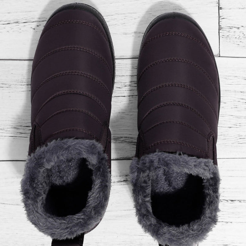 Women's Warm Fur Lined Ankle Slip-On Winter Snow Boots