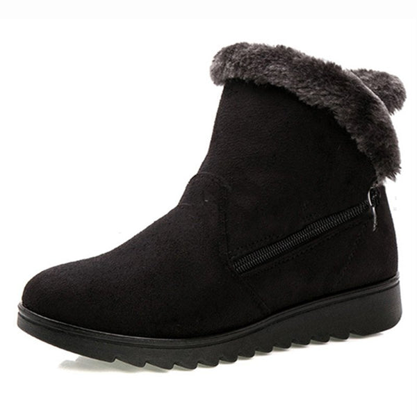 Women Winter Shoes Warm Snow Zipper Ankle Boots Vintage Suede Booties