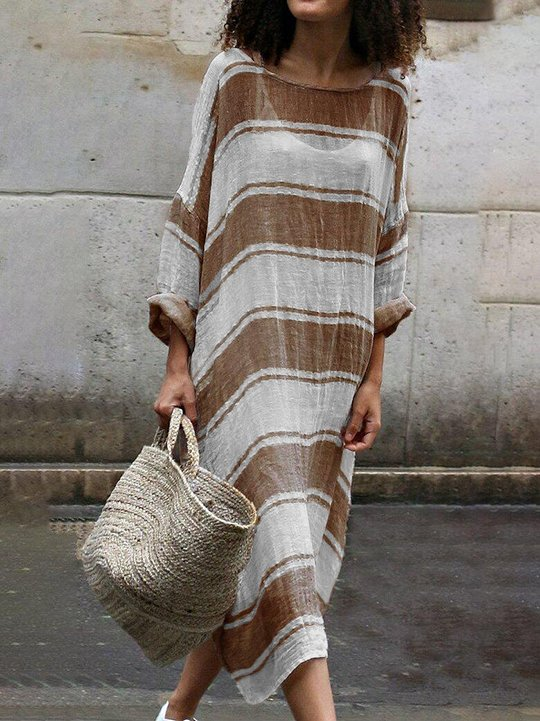 Long Sleeve  Dress Soft Stripe Maxi Dress