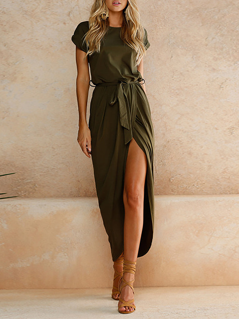 Green Asymmetrical Polyester Cross Front Elegant Casual Dress