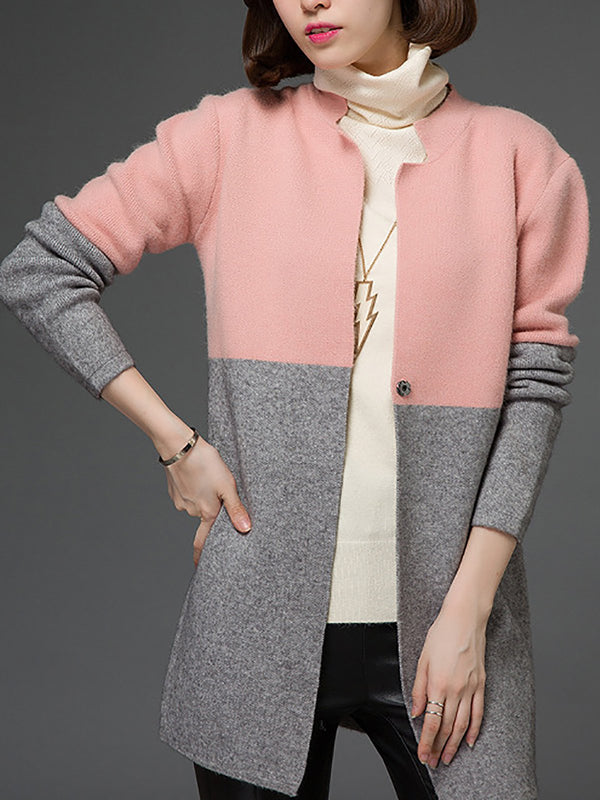 Casual Long Sleeve Color-Block Cotton Coat