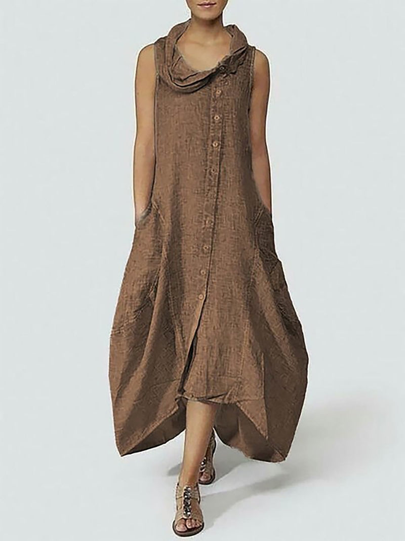 Cowl Neck Buttoned pockets Solid Cocoon Maxi Dress