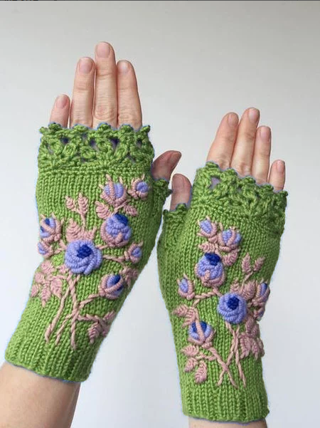 Blue Casual Gloves