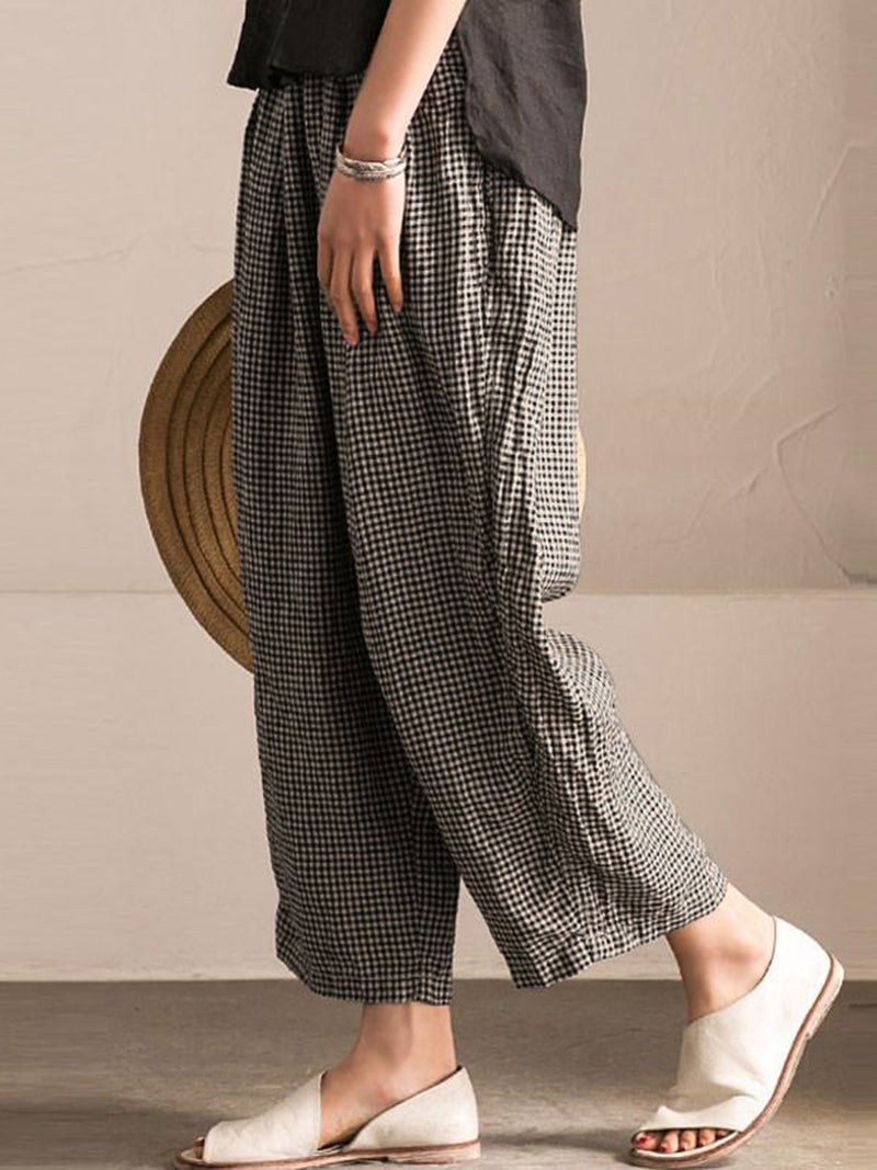 Women Casual Black Pockets Shift Checkered Pants