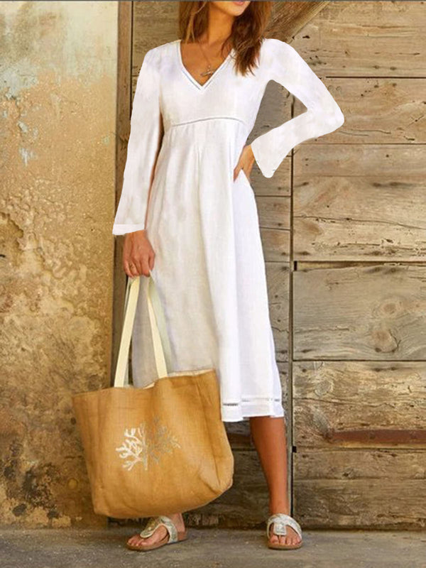 Cotton-Blend V Neck Casual Dresses