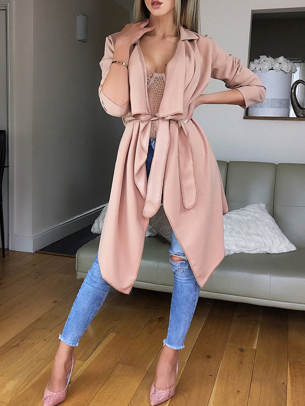 Asymmetric Long Sleeve Belted Trench Coat