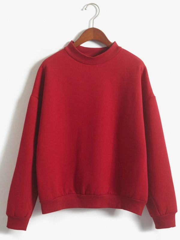 Fleece-lined Casual Solid Stand Collar Sweatshirt