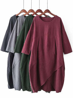 Casual Crew Neck Pockets Dresses