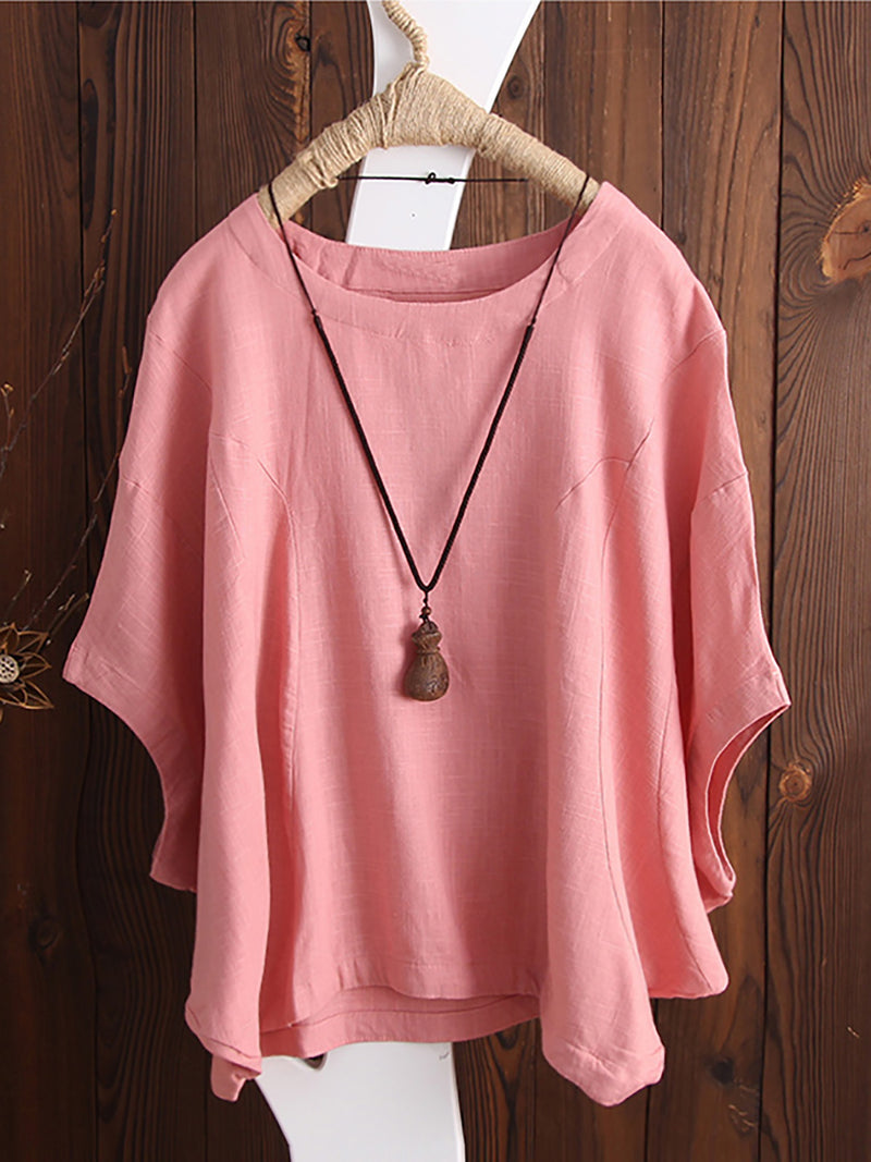 Solid Basic Simple Printed Half Sleeve Crew Neck Tops