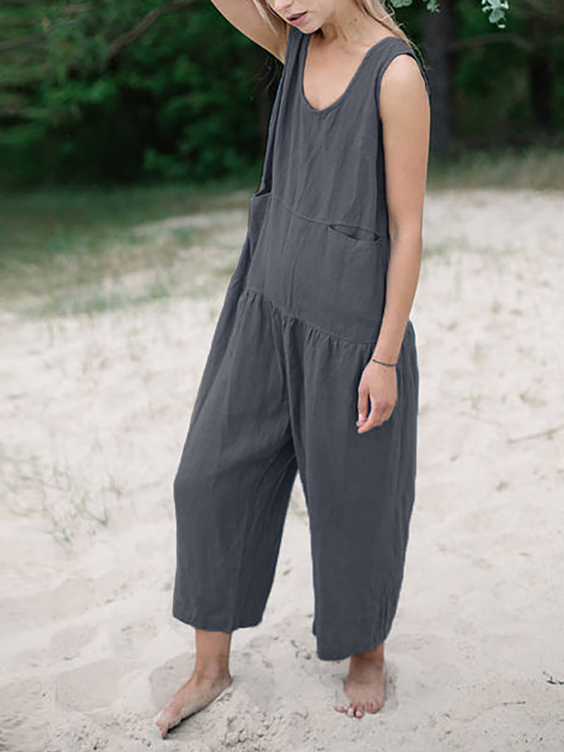 Women Causal High Rise Long Pants Sleeveless Cotton Jumpsuit