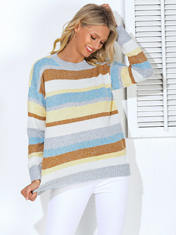 Blue Long Sleeve Shift Crew Neck Sweater