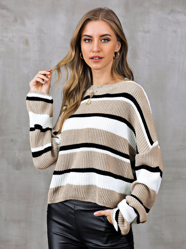 Striped Crew Neck Long Sleeve Sweater
