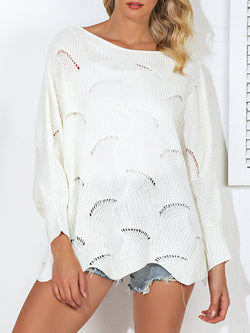 Shift Bateau/boat Neck Long Sleeve Casual Sweater