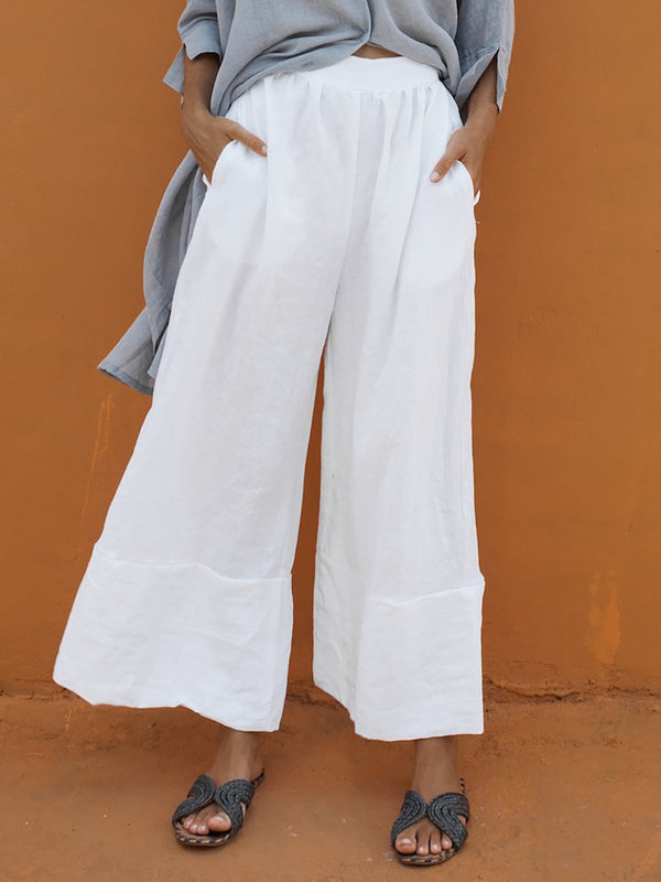 Casual Paneled Solid Plus Size Shift Cotton Pants