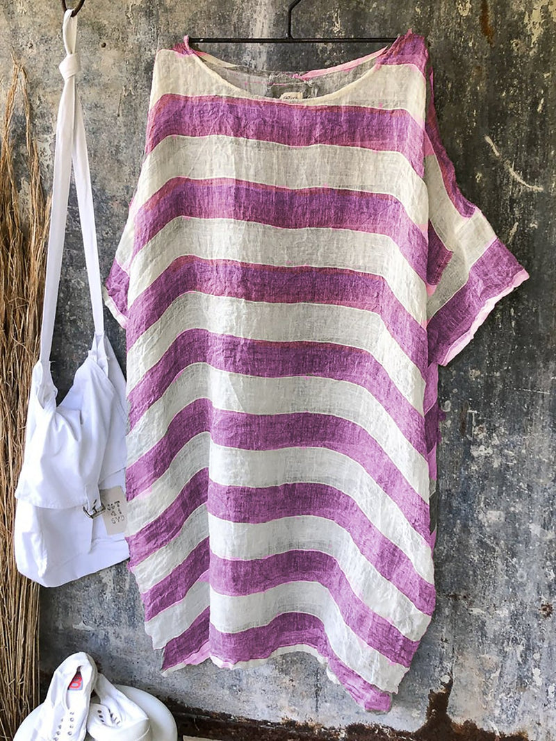 Women Linen Stripes Shift Casual Plus Size T-shirts&Blouses