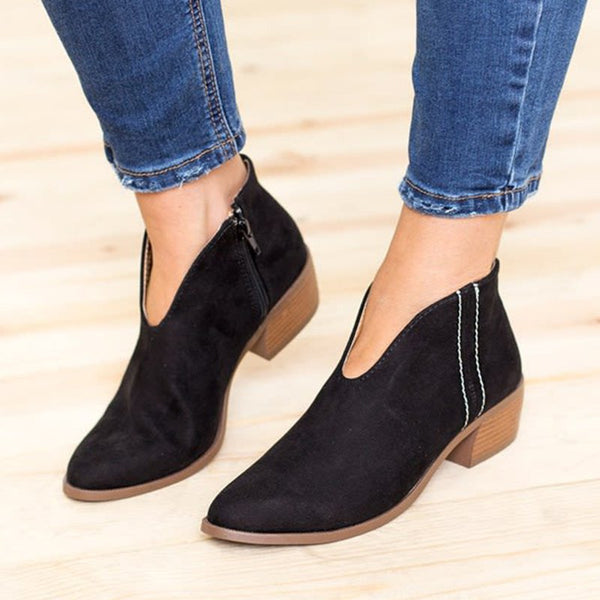 Women Deep V Sexy Booties Casual Comfort Plus Size Zipper Shoes