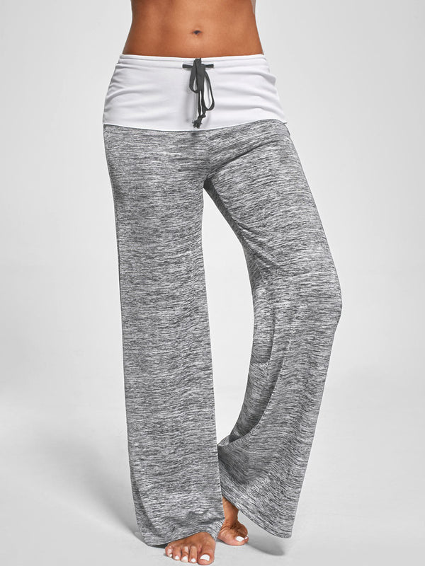 Gray Casual Cotton Paneled Bottoms