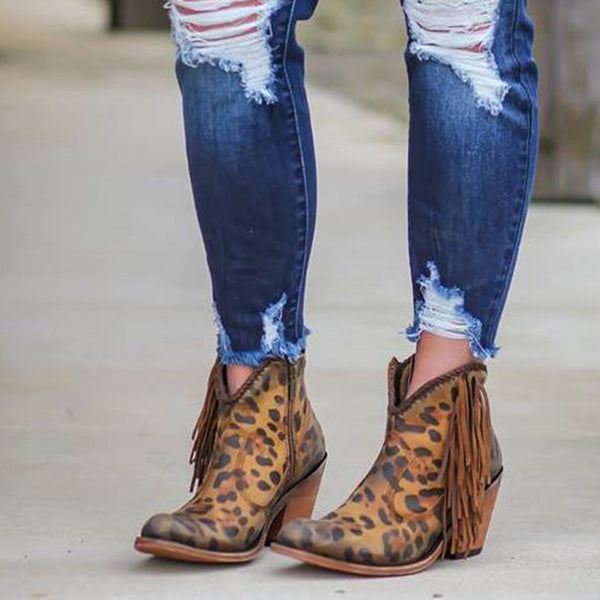 Fashion leopard tassel low heel shoes non-slip boots