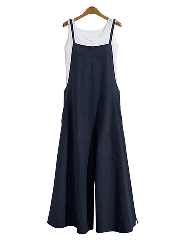 Cotton Solid Casual Bottoms Pockets Tank Jumpsuit
