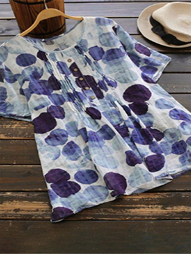 Women Printed Top Blouse Ladies Short Sleeve T-Shirt Dress