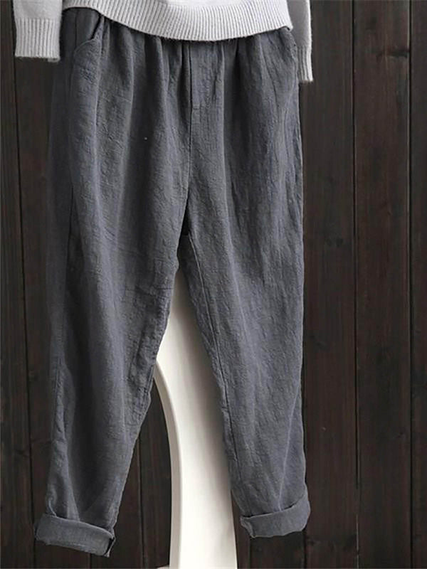 Women Work Solid Daily Cotton Cotton Linen Pants