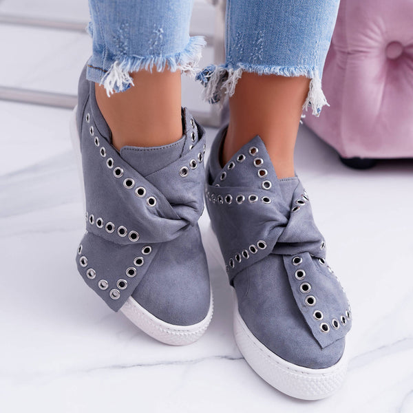 Women Artificial Suede PU Bowknot Wedge Sneakers Flat Suede Sneaker Shoes