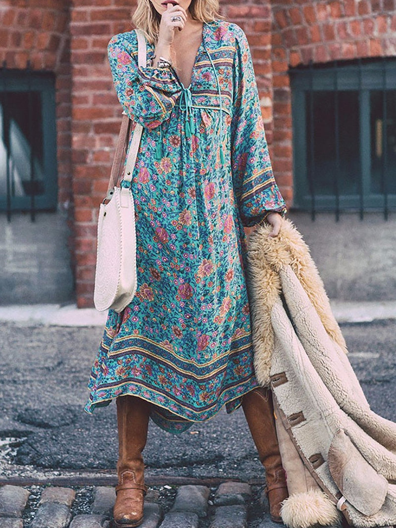 Blue Deep V Neck 3/4 Sleeve Floral Boho Maxi Dress
