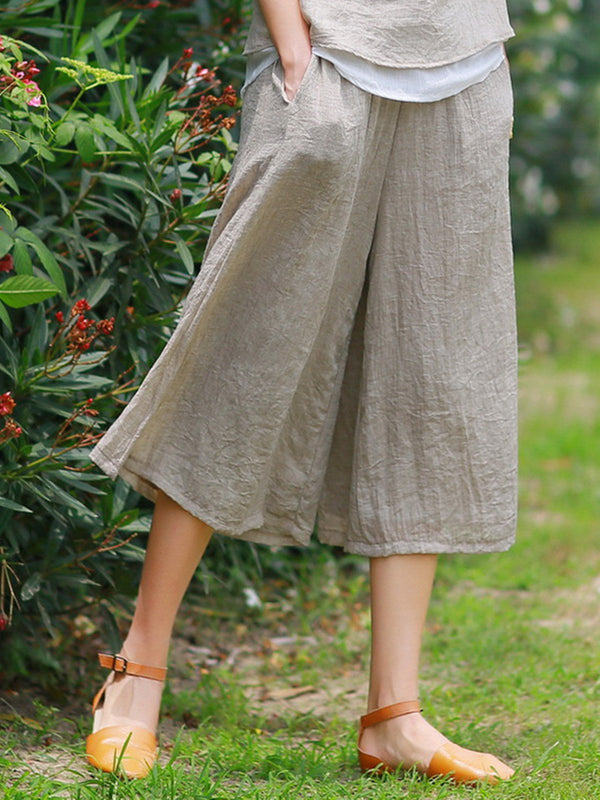 Women Wide Leg Casual Cotton Plain Pants